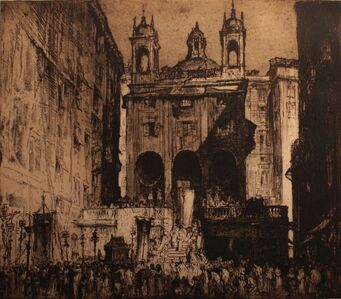 Sir Frank Brangwyn, 'Procession at the Church of Saint Peter in Banchi in Genoa', 1913