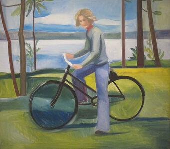 Louisa Matthíasdóttir, 'Maine, Girl in Jeans on Bicycle', ca. 1976