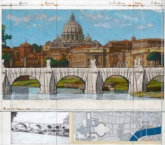 Christo, 'Ponte Sant' Angelo, wrapped (project for Rome)', 2011