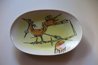 """Porcelana di Albisola - large oval serving plate - 15"""" x 11"""""""