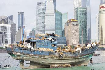The Ninth Wave sailing on the Huangpu River by the Bund, Shanghai
