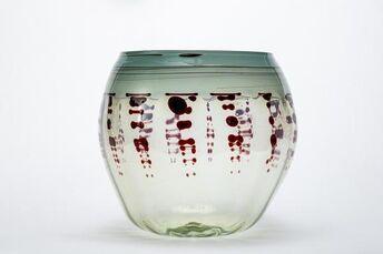 Seafoam Green & Oxblood Basket, Handblown Glass Contemporary Art