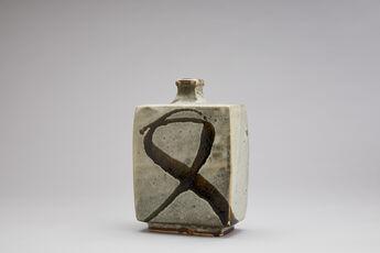 Vase, white glaze with tetsue brushwork