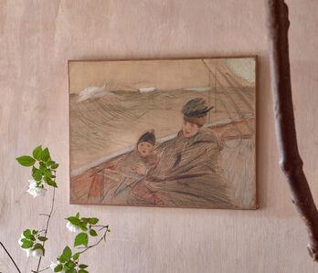 Paul César Helleu, 'Madame Helleu with her son on the boat BIRD', 1906