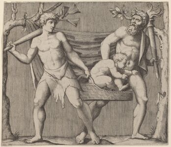 Marcantonio Raimondi, 'Two Fauns Carrying a Child'