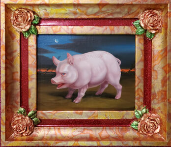 Laurie Hogin, 'Red-Faced Hogs (Nostalgia) Stand Guard in Their Agri-Industrial Wasteland, Framed by Four American Beauty Roses', 2020