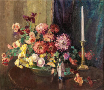 Alice Brown Chittenden, 'Floral Still Life with Asian Figurine', 1897