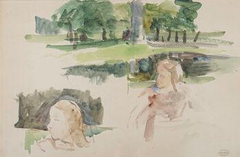 Étude de paysage à la rivière et d'enfants