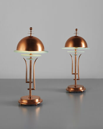 In the manner of kem weber · pair of table lamps