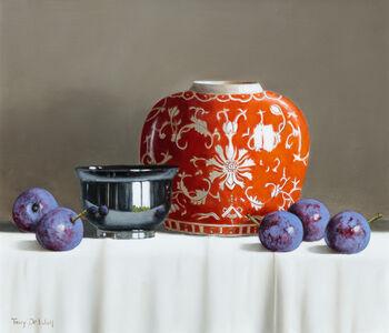 Tony de Wolf, 'Orange Vase with Plums'