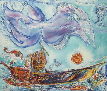 Carl-Henning Pedersen, 'Violet Fugl over Solbåd', 1979