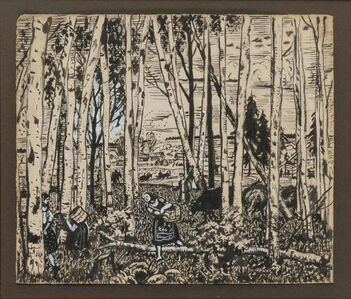 Boris Mikhailovich Kustodiev, 'Mushroom Picking'