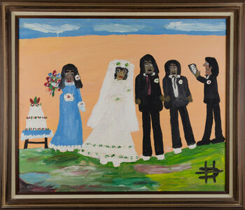 Clementine Hunter, 'Wedding Scene with a Blue Dress Bridesmaid', 1980