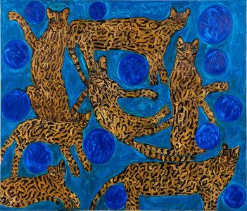 Hunt Slonem, 'Pearl Blue Ocelots', 2020