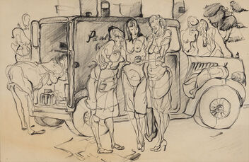 Women and Produce Truck