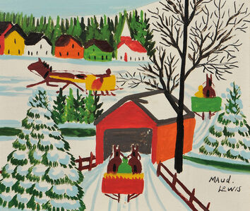 Maud Lewis, 'Winter Scene with Horse-drawn Sleighs and Covered Bridge'