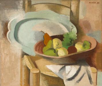 André Lhote, 'Corbeille de fruits et plat sur une chaise paillée', 1929