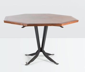 Leonardo Fiori, 'a table with a metal structure and a wooden top', ca. 1950