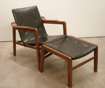 """Edvard and Tove Kindt-Larsen, 'A pair of """"Fireplace Chairs"""" and an Ottoman', 1939"""