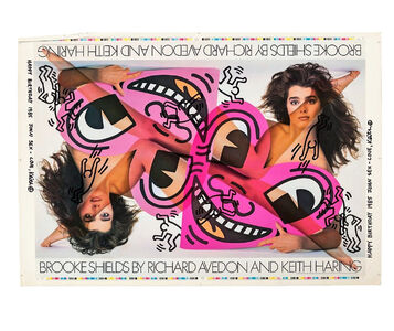 "Keith Haring, '""""HAPPY BIRTHDAY 1985 JOHN SEX- LOVE, KEITH"", Brooke Shields by Richard Avedon and Keith"", 1985,  TEST Poster, SIGNED / DATED / INSCRIBED to John SEX (twice), UNIQUE', 1985"