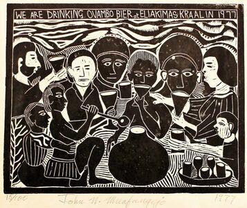 John Muafangejo, 'WE are drinking Ovambo Bier at Eliakimas in 1977', 1977