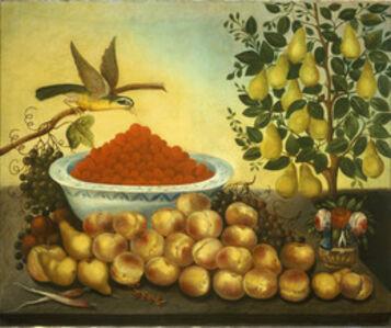 Charles V. Bond, 'Still Life: Fruit, Bird, and Dwarf Pear Tree', 1856