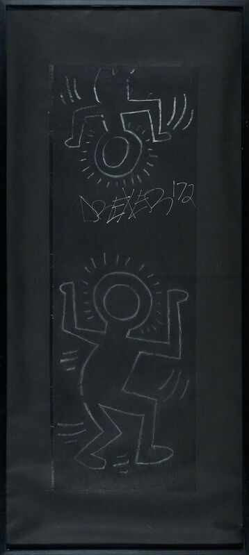 Keith Haring, 'Untitled (Subway Drawing)', Painting, White chalk on black paper with grafitti (framed), Rago/Wright