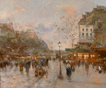 Edouard Léon Cortès, 'Paris, Boulevard Animé (Près de Montmartre)', ca. 1905