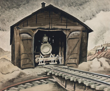 Charles Ephraim Burchfield, 'Locomotive Shed (Woodburning Locomotive)', 1918