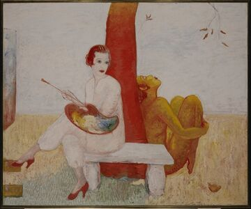 Florine Stettheimer, 'Self-portrait with Palette (Painter and Faun)', 1915