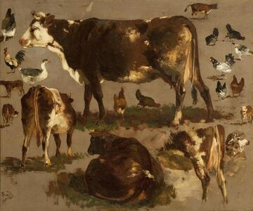 Rosa Bonheur, 'Studies of Cows, Hens, Roosters, a Goose and a Sheep'