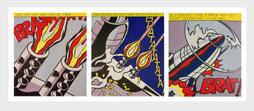 Roy Lichtenstein As I Opened Fire set of 3 lithographic posters