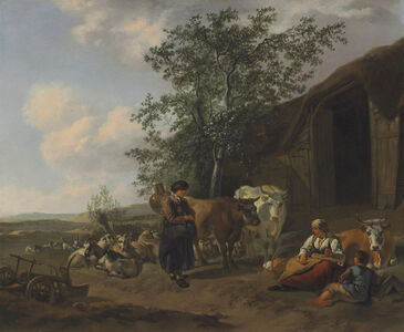 Gerrit Adriaensz. Berckheyde, 'An Italianate landscape with peasants outside a barn'