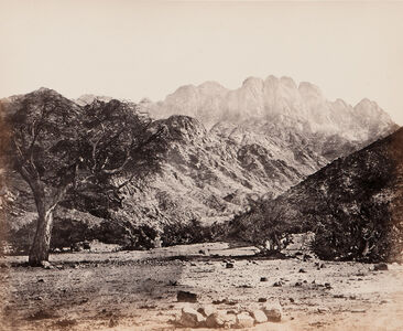 Francis Frith, 'Mount Serbal, From the Wádee Feyrán', 1858/1860