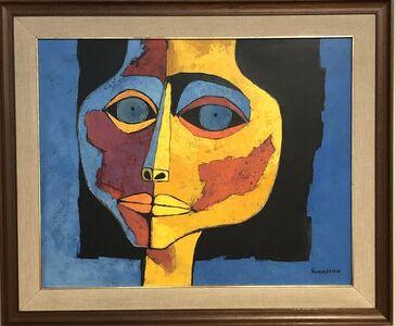 Oswaldo Guayasamín, 'Cabeza de Niña con fondo Azul ', 1995
