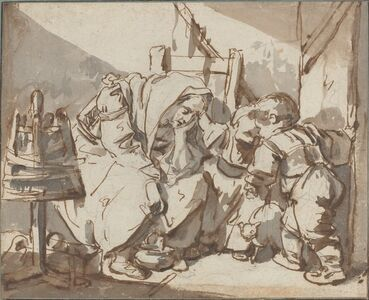 Jean-Baptiste Greuze, 'A Tired Woman with Two Children', 1750/1761