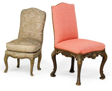 Rococo Style, 'Two Rococo Style Painted Side Chairs', early 20th c.