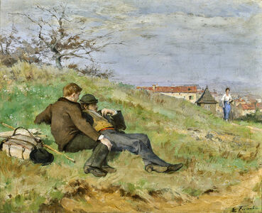 Émile Friant, 'TWO ARTISTS: MATHIAS SCHIFF AND CAMILLE MARTIN (LE REPOS DES ARTISTES)', ca. 1880