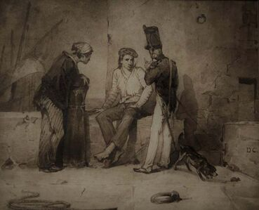 Alexandre-Gabriel Decamps, 'Sailors and soldier, an animated Port scene', ca. 1850