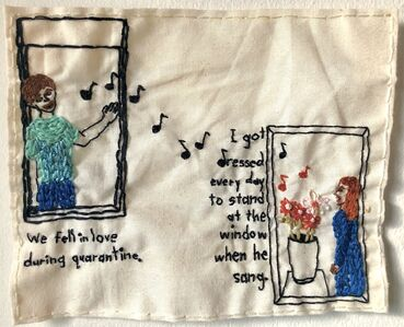 Iviva Olenick, 'We fell in love during quarantine - love narrative embroidery', 2020