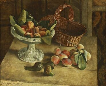 John Aldridge, 'STILL LIFE OF FRUIT AND A BASKET ON A TABLE'