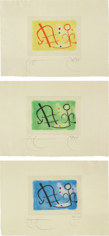Joan Miró, 'Fusée (Rocket): three plates', 1959, Print, Three etchings and aquatints in colors all with hand-coloring, on pale green wove paper, with full margins, Phillips