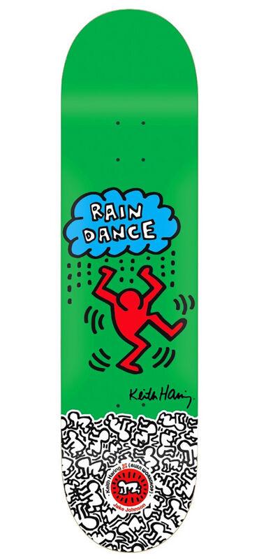 Keith Haring, 'Keith Haring Rain Dance skateboard deck ', ca. 2012, Ephemera or Merchandise, Silkscreen in colors on Maplewood Skateboard Deck, Lot 180