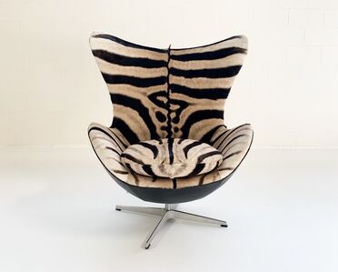 Arne Jacobsen, 'Egg Chair Restored in Zebra Hide and Loro Piana Leather', mid 20th century