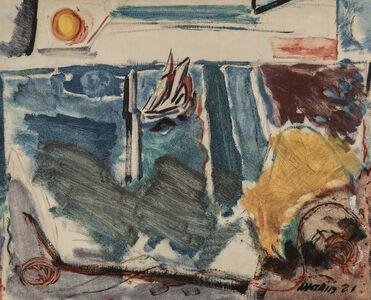 John Marin (1870-1953), 'Sailboat, Sea and Sun', 1921