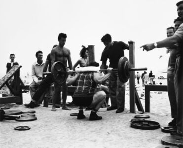 Larry Silver, 'A Body Builder in a Squatting Position, Muscle Beach, Santa Monica, CA', 1954