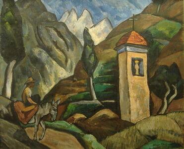 Oliver Chaffee, 'Red Roof Shrine, Donkey & Rider', 1924-1925