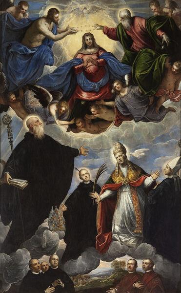 Jacopo Tintoretto, 'Coronation of the Virgin with Saints Benedict, Placido, Gregorio Magno and Mauro', 1594