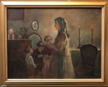 Anton Peczely, 'Mothers Blessing, Shabbat Candles Rare Hungarian Judaica Oil Painting', Early 20th Century