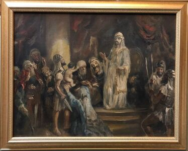 Anton Peczely, 'Wisdom of King Solomon Rare Biblical Hungarian Judaica Oil Painting', Early 20th Century